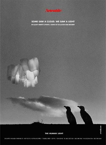 """Some saw a cloud. We saw a light"". #TheHumanLight by Artemide, ADV campaign 2002 Photo by Elliott Erwitt Agency with #Logico luminaires. #design  Gerhard Reichert & Michele De Lucchi"
