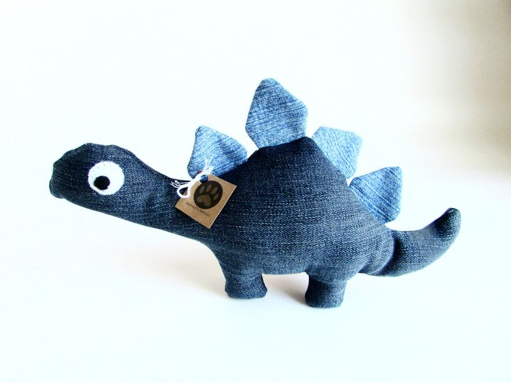 Kids Love Dinosaurs - So Why Not Dogs? Your dog will love having their own little dinosaur - Stella! Stella is so unique! Each one is handmade by an artisan in California from upcycled blue denim, cot