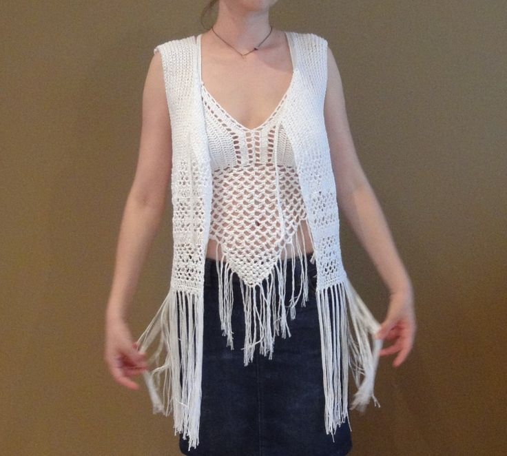 Bohemian boho white top cotton acrylic fringes adjustable clever back summer parties beach by TheoMez on Etsy