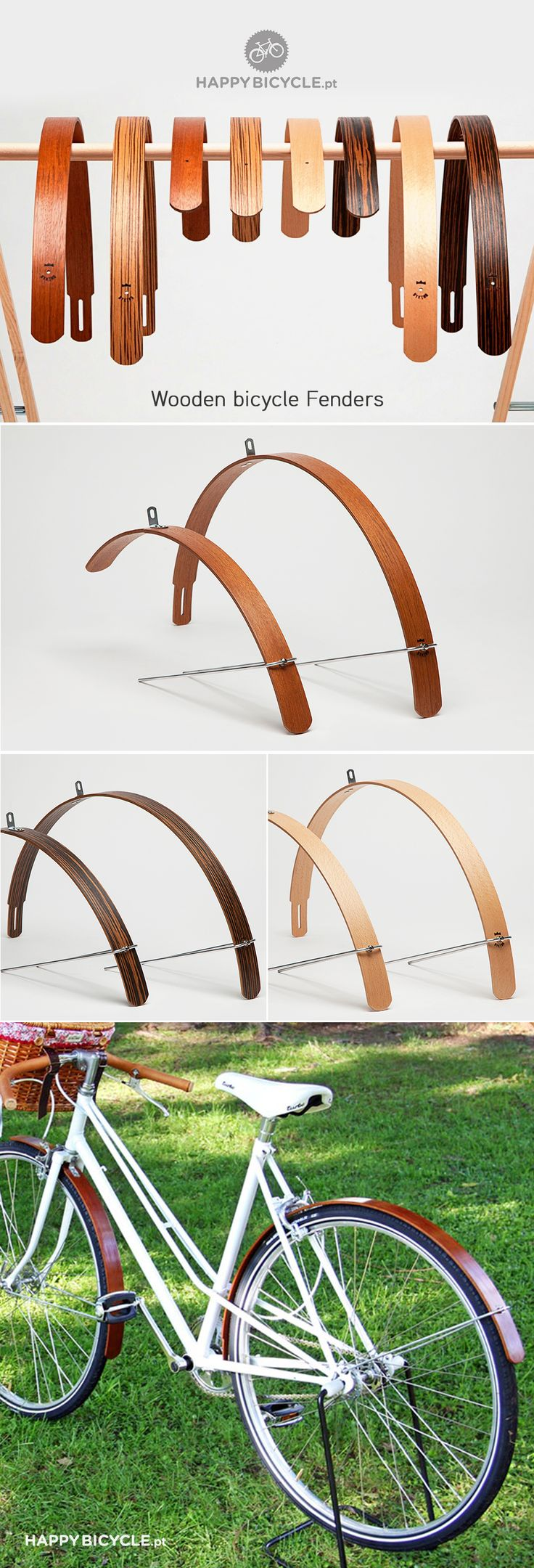 Want These Wooden Bicycle Fenders and this looks just like my City Bicycle / by Happy Bicycle Store. #Beautiful #Bicycle.