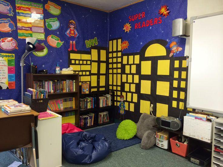 My beautiful reading corner #superheroes #fifthgradefun