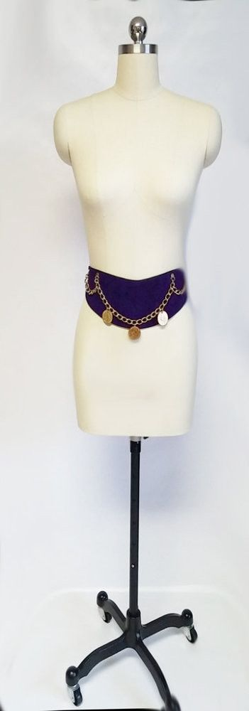 VINTAGE PURPLE GENUINE SUEDE LEATHER GOLD CHAIN & COIN CONTOUR BELT