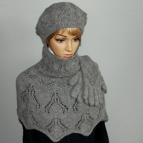 Beautiful 3 piece Hat  Shawl  Gloves set. Made of by WoolyThinker, $135.00