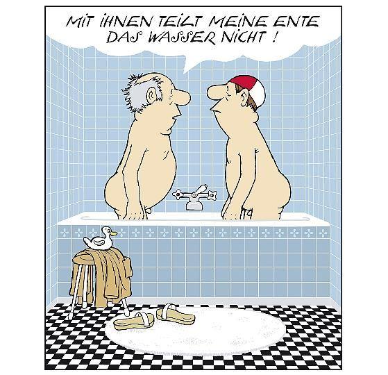 Loriot - weil..... A: nach meiner Erfahrung ist eben ein warmes Wannenbad mit Wasser zweckmäßiger als ohne. B: Das ist Ihre ganz persönliche Meinung, Herr Doktor Klöbner. Aber man darf ja wohl noch anderer Ansicht sein. A:  Ach, was. B:  Sie können Sich in meiner Wanne eine eigene Meinung überhaupt nicht leisten.