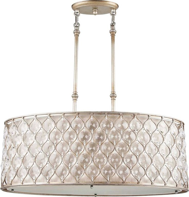 Feiss Lucia Silver With Cream Fabric Chandelier 930
