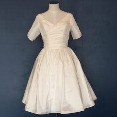 Audrey Lynn Vintage Bridal Jolene Dress | 1950s tea length wedding dress with ruching and gathered full circle skirt