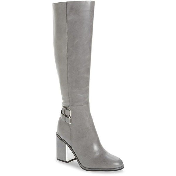 Women's Calvin Klein Camie Water Resistant Knee High Boot ($289) ❤ liked on Polyvore featuring shoes, boots, shadow grey leather, leather knee boots, tall boots, gray knee high boots, knee boots and grey leather boots