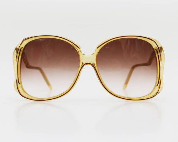 70s Yellow Oversized Sunglasses - Vintage 1970s Ombre Lens Womens Sunglasses