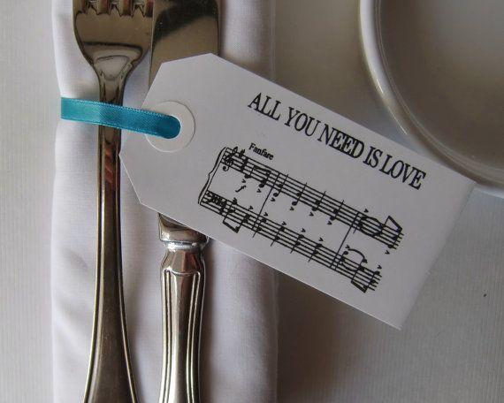 Wedding Napkin Holders-Vintage Style White Luggage Tags-Set of 50-Beatles Music-Wedding Table Decor-DIY Wedding Table-Unique Wedding Favors on Etsy, 292:79kr