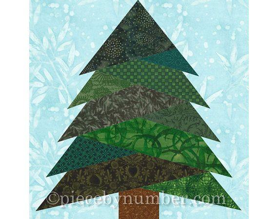 Pine Tree Quilt Block Pattern, Paper Piecing Quilt Pattern