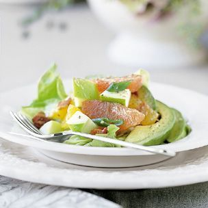 Apple-citrus salad with avocado and bacon- maybe the only salad I would ever eat.. it has avocodos AND bacon! :)