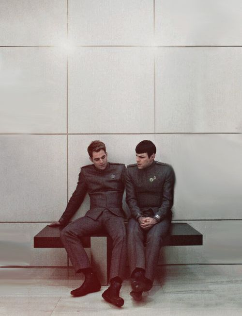 Kirk, Spock  - a photo-shop picture but still cutely made so they sit right beside each other.