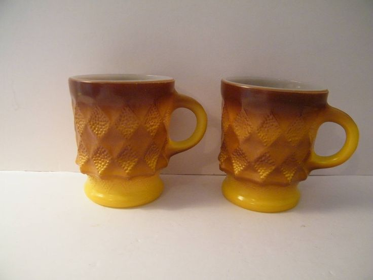 Anchor hocking Yellow to Brown Mugs in Kimberly pattern, 8 ounce cups, vintage 1950s Fireking mid century, kitchen drinkware, by Terrystreasuretrunk on Etsy