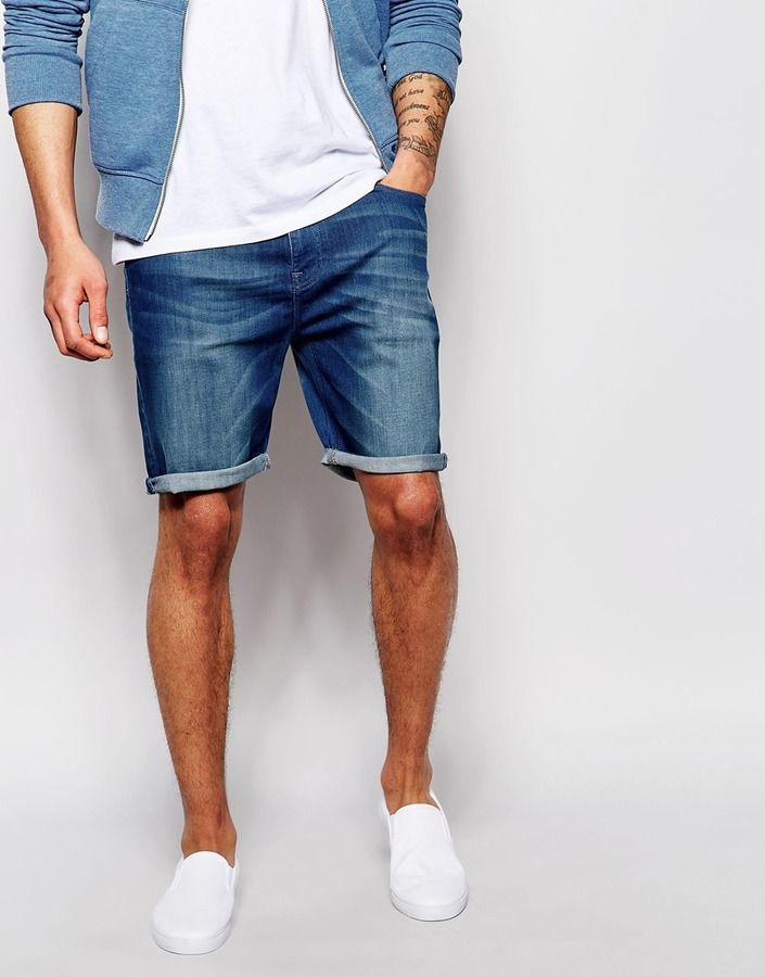 $45, Navy Denim Shorts: Asos Brand Denim Shorts In Stretch Slim Fit With Tint. Sold by Asos. Click for more info: https://lookastic.com/men/shop_items/211203/redirect