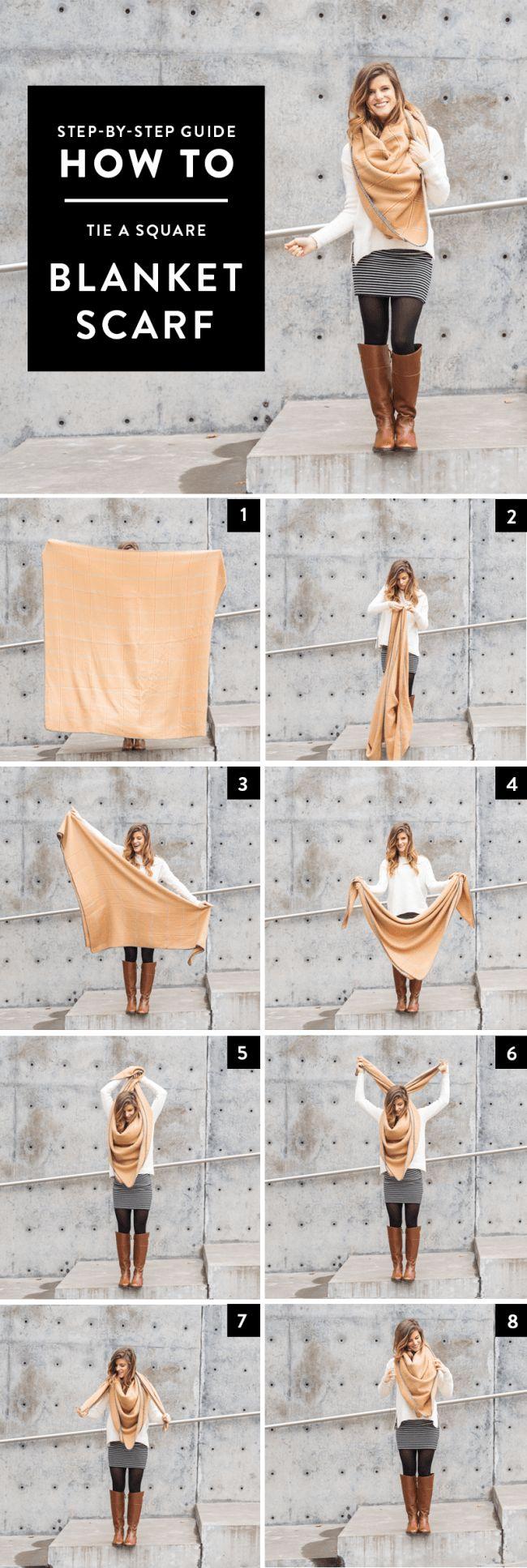 How to Tie A Square Scarf // step by step tutorial via brighton the day blog