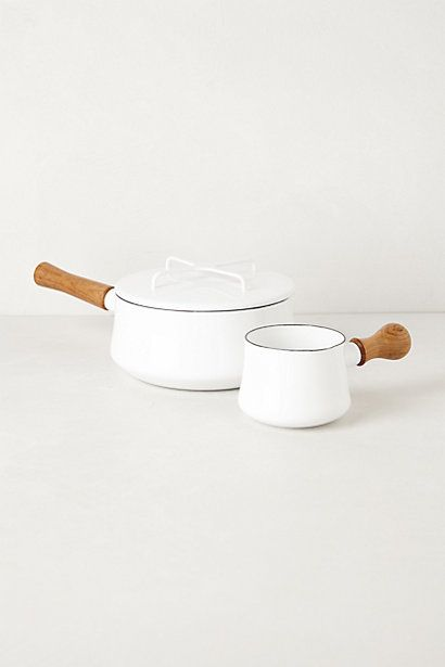Dansk Cookware - anthropologie.com // Small saucepan $70 // Butter warmer $40