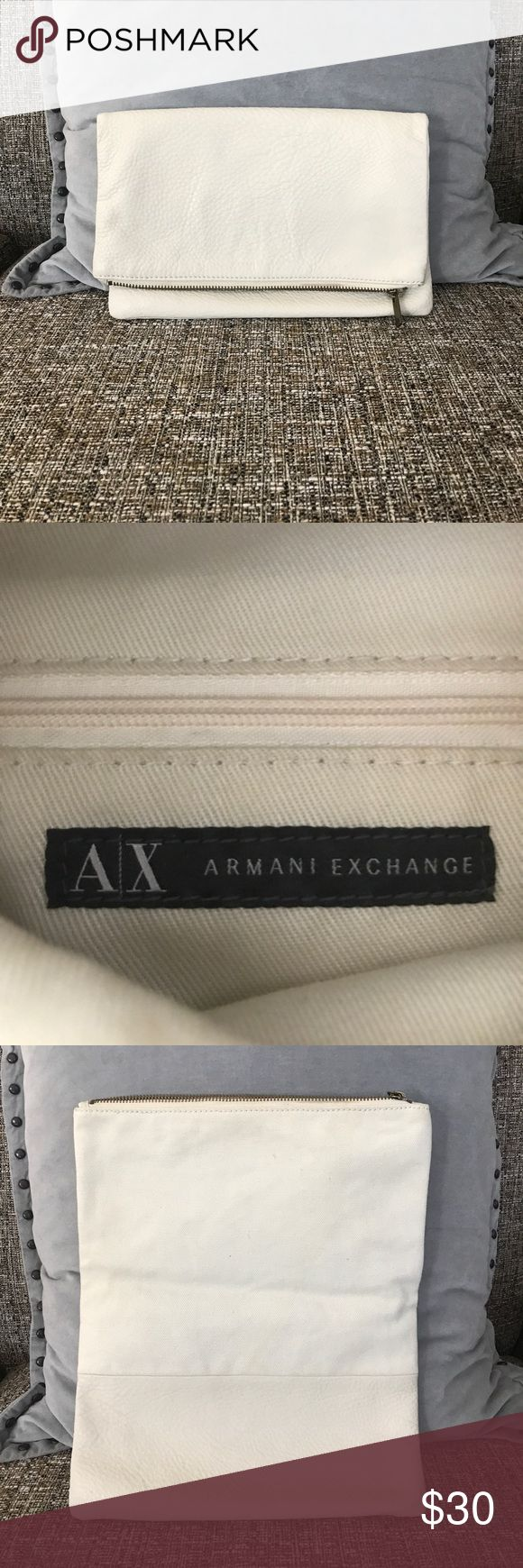 Armani Exchange Fold Over Clutch Gently used neutral clutch. Zipper close. A/X Armani Exchange Bags Clutches & Wristlets