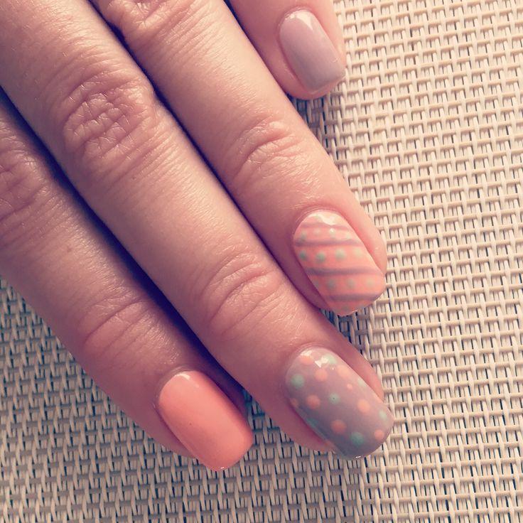 Spots N Stripes Nail Art In Shellac My Nail Work Pinterest