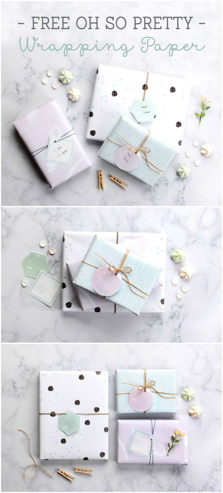 free printable wrapping paper in pretty pastel colours