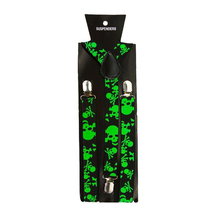 Hosenträger Unisex verstellbar Y -Form - schwarz - neon grün Totenköpfe in Bekleidung Accessoire  • Hosenträger