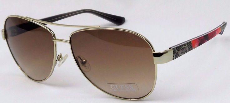 Guess Gu7384 32F Ladies Gold Frame Brown Lens Designer Aviator Sunglasses