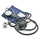 Belmalia Blutdruckmessgerät mit Doppelkopf Stethoskop, Pumpball, Manometer, Manschette, Tasche, blau schwarz, Rettungsdienst, Arzt, Praxis, Fasching, Kostüm