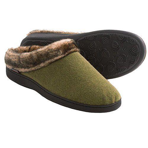 Women's faux fur collar #Acorn Slipper in Olive mule color. Size Large (8-9 B M US).