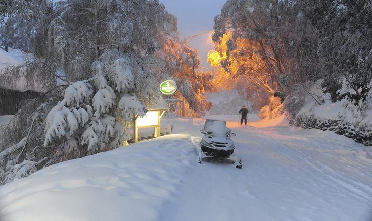 Just after dark , snow transport falls Creek. www.australianphotos.com.au