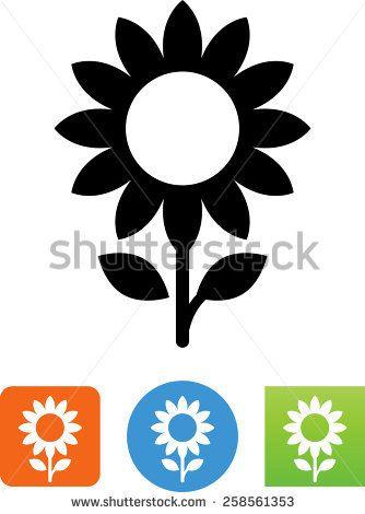 Black and White Sunflower Vector Sunflower symbol for