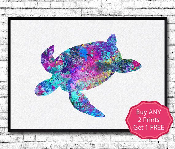 Sea Turtle Watercolor Print Sea Turtle Illustration by ArtsPrint