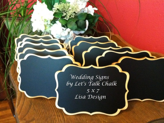 """Getting married?  Check out these NEW Elegant Wedding Chalkboard Signs 5"""" x 7"""" by LetsTalkChalk, Just $7.00 each!"""