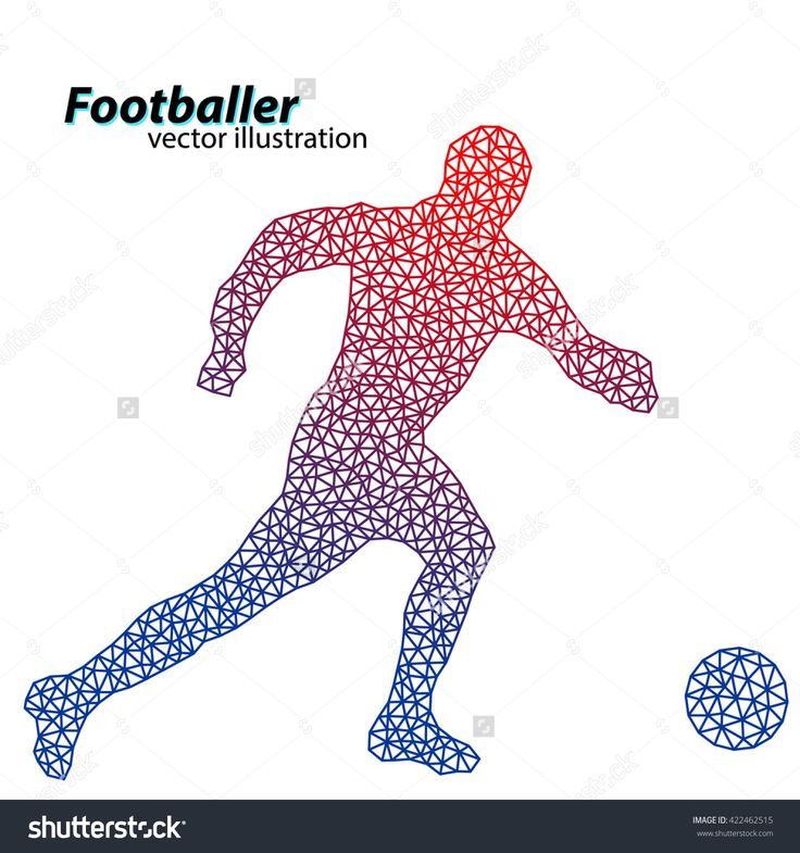 Silhouette Of A Football Player From Triangles. Text On A Separate Layer, Color Can Be Changed In One Click Banco de ilustração vetorial 422462515 : Shutterstock