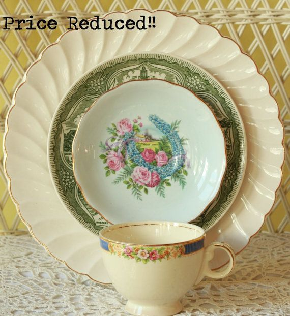 Mismatched China Dinnerware China State by FancifulTableware