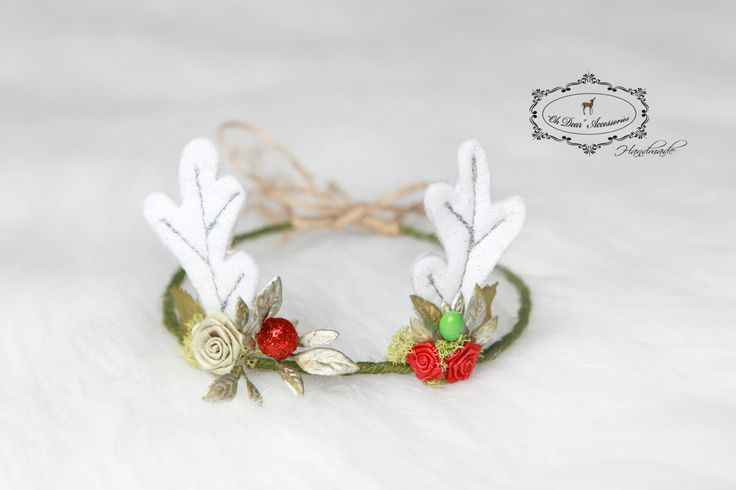 newborn reindeer headband,newborn photo session, photo prop, Christmas time,Rudolph,winter season by OhDearAccessories on Etsy