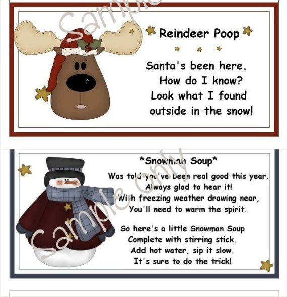 Christmas Printables, Reindeer Poop and Snowman Soup bag toppers to ...