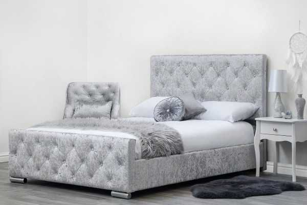 Beaumont Diamante Silver Crushed Velvet Fabric Upholstered Double King Size Bed