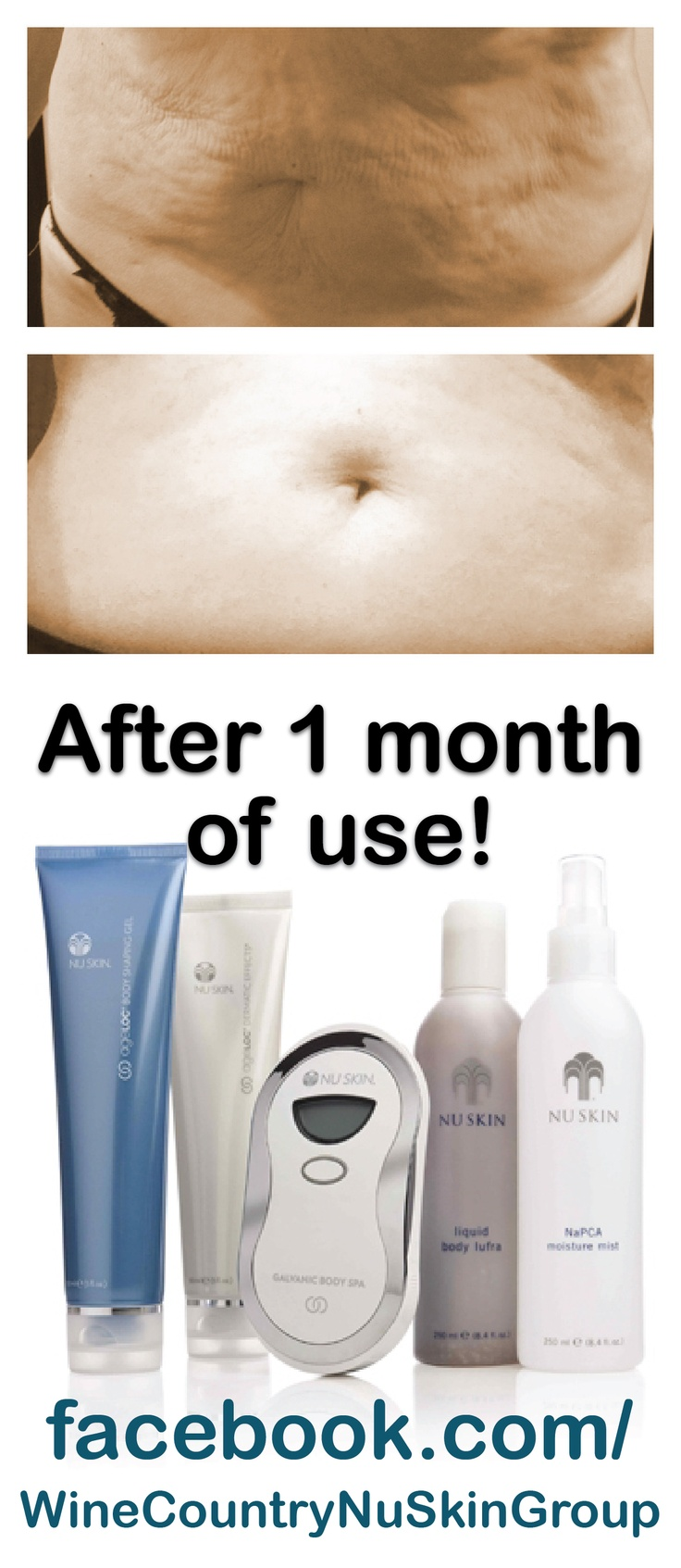 Give yourself the git of getting your body back in your control! with the NuSkin Galvanic Body Spa Results after only 1 month of treatment