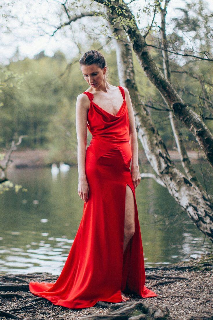 Lapageria Evening Dress - Organic silk dress with low back, dramatic train and high slit at the side by award-winning bridal designer Sanyukta Shrestha