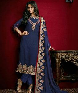 Buy Navy Blue Faux Georgette Pakistani Style Suit 77450 online at lowest price from huge collection of salwar kameez at Indianclothstore.com.