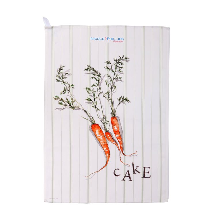 Nicole Phillips England artisan Carrot Cake Tea Towel. Nicole Phillips designs and makes beautiful fine textile ranges that add accents of creativity and colour for your home and kitchen. Designed and made in England to the highest print and quality standards. http://www.nicolephillips.com/collections/tea-towels/products/carrot-cake-tea-towel #baking