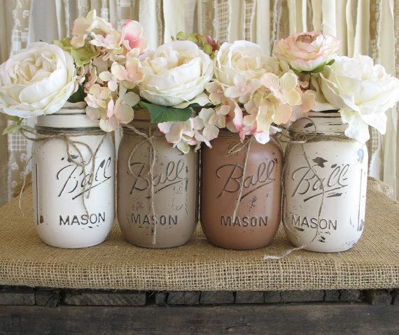 Mason Jars, Ball jars, Painted Mason Jars, Flower Vases, Rustic Wedding Centerpieces, Creme, Tan and Brown Wedding Mason Jars