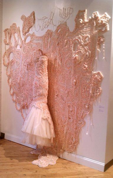 Installation detail of Julia Ramsey's 'Engaged' knit art