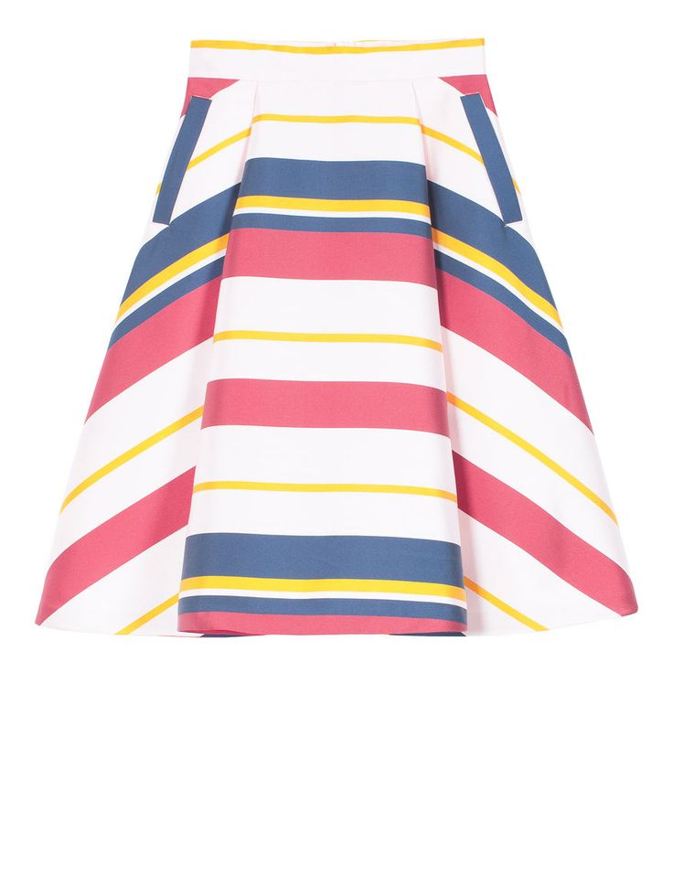 Max&Co. - Midi-length skirt in striped duchess satin, Cornflower Blue Pattern,Rose Pink Pattern -  - 0.000 EUR (Italian price). - Midi-length skirt in striped duchess satin. Flared styling. High waist. Welt pockets with contrasting intarsia. Large pleats both in the front and the back. Invisible zip fastening in the back. This garment is lined. Below-knee length. - Free Shipping and Returns!