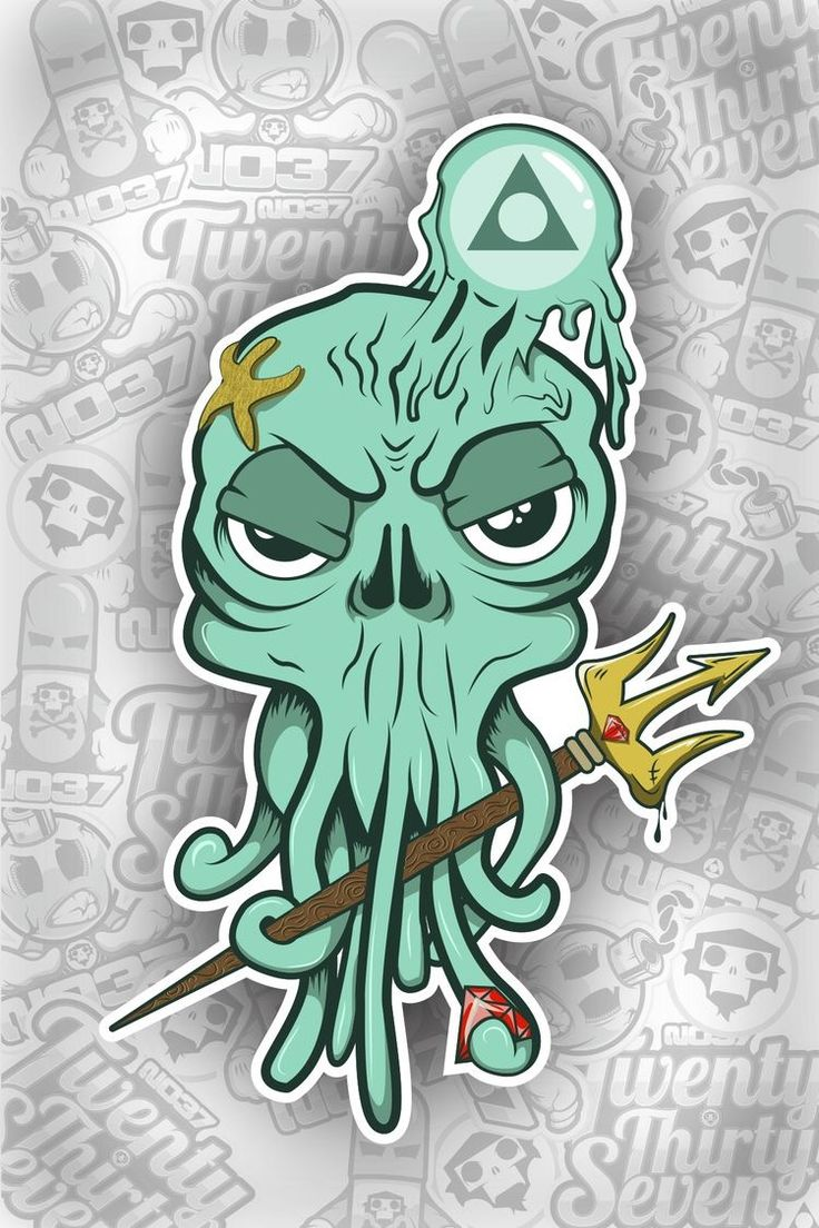 octopus sticker artwork illustration vector art monster creature design sea creatures doodles