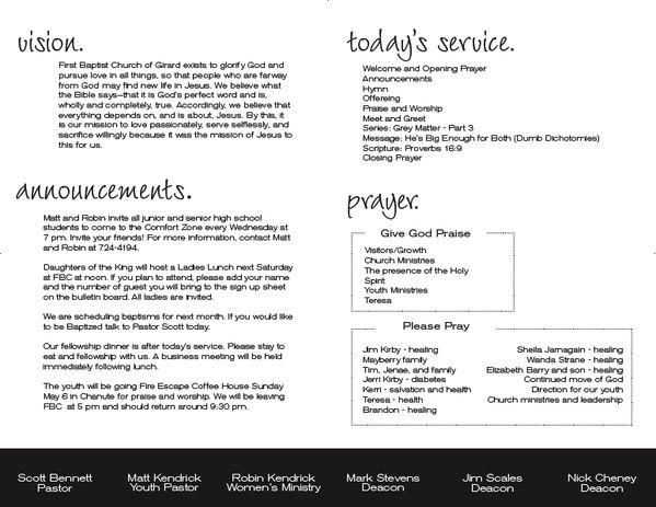 nice church bulletin announcements and prayers layout