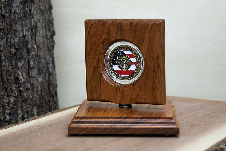 Challenge Coin Rotating Display - Natural Jatoba Wood - Perfect for Challenge Coins... Makes a great gift! by CoinDisplays on Etsy