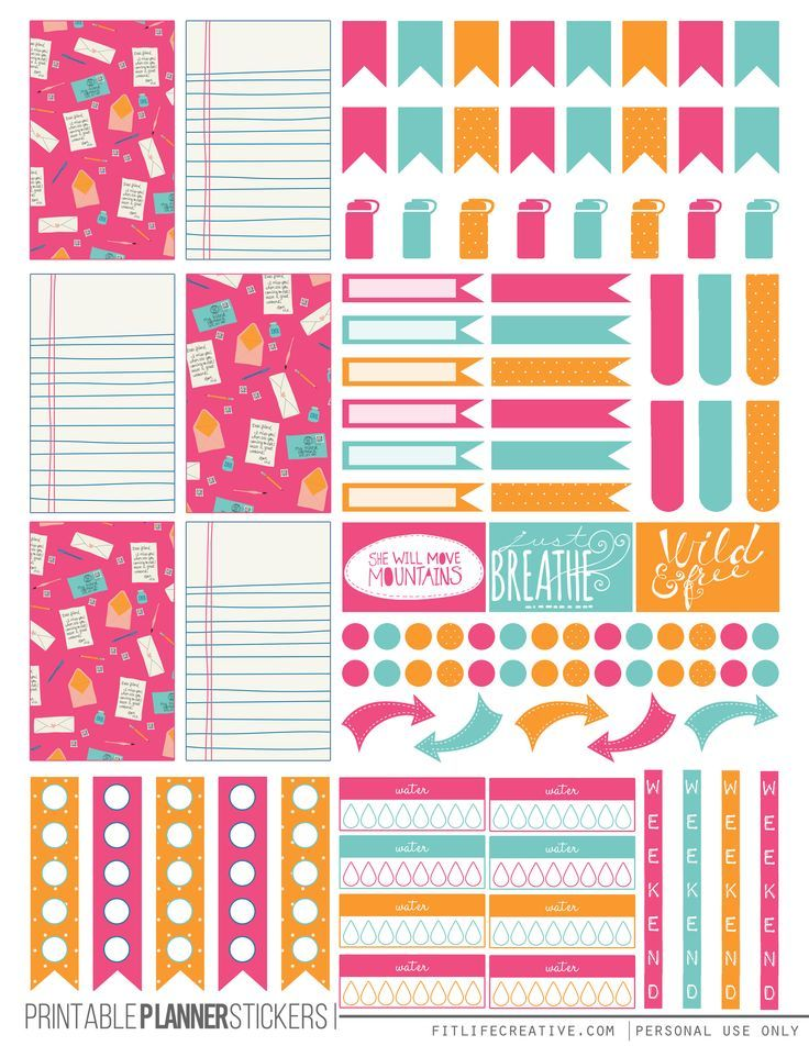 Colorful Correspondence Free Printable Planner stickers for the classic size Happy Planner.  Includes 2 full pages of planner stickers.