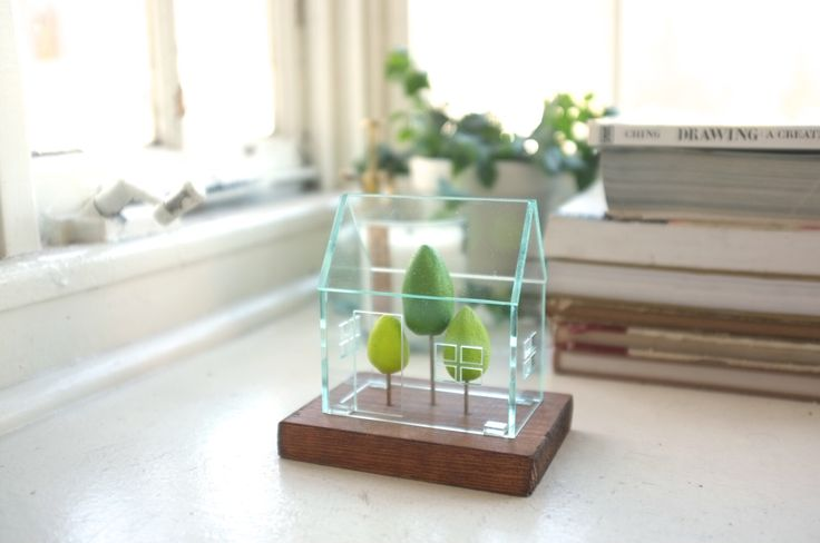Miniature greenhouse structure - small acrylics architecture around green trees - glass house -look solarium by 2of2 on Etsy https://www.etsy.com/listing/163583345/miniature-greenhouse-structure-small