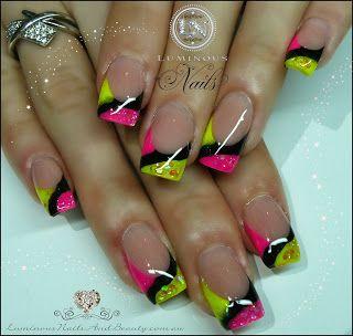 Luminous Nails: Licorice All Sorts Nails! Pink, Yellow & Black...
