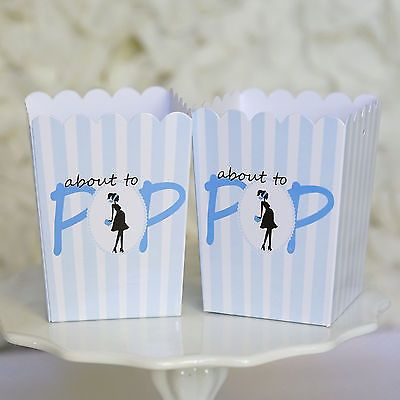 10 Blue About To Pop Baby Shower Boxes w/ Handle Favor Box Ready to Pop